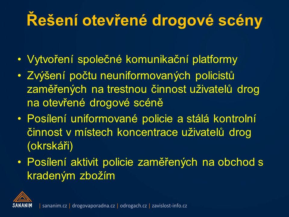 Řešení otevřené drogové scény Vytvoření společné komunikační platformy Zvýšení počtu neuniformovaných policistů zaměřených na trestnou činnost uživate