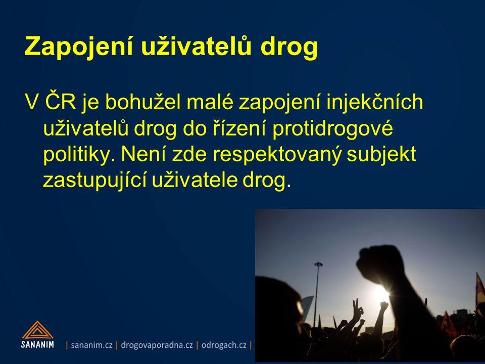 Zapojení uživatelů drog V ČR je bohužel malé zapojení injekčních uživatelů drog do řízení protidrogové politiky.