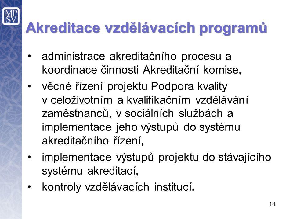 14 Akreditace vzdělávacích programů administrace akreditačního procesu a koordinace činnosti Akreditační komise, věcné řízení projektu Podpora kvality v celoživotním a kvalifikačním vzdělávání zaměstnanců, v sociálních službách a implementace jeho výstupů do systému akreditačního řízení, implementace výstupů projektu do stávajícího systému akreditací, kontroly vzdělávacích institucí.