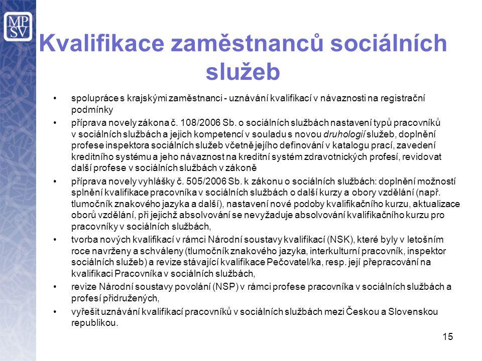 15 Kvalifikace zaměstnanců sociálních služeb spolupráce s krajskými zaměstnanci - uznávání kvalifikací v návaznosti na registrační podmínky příprava novely zákona č.