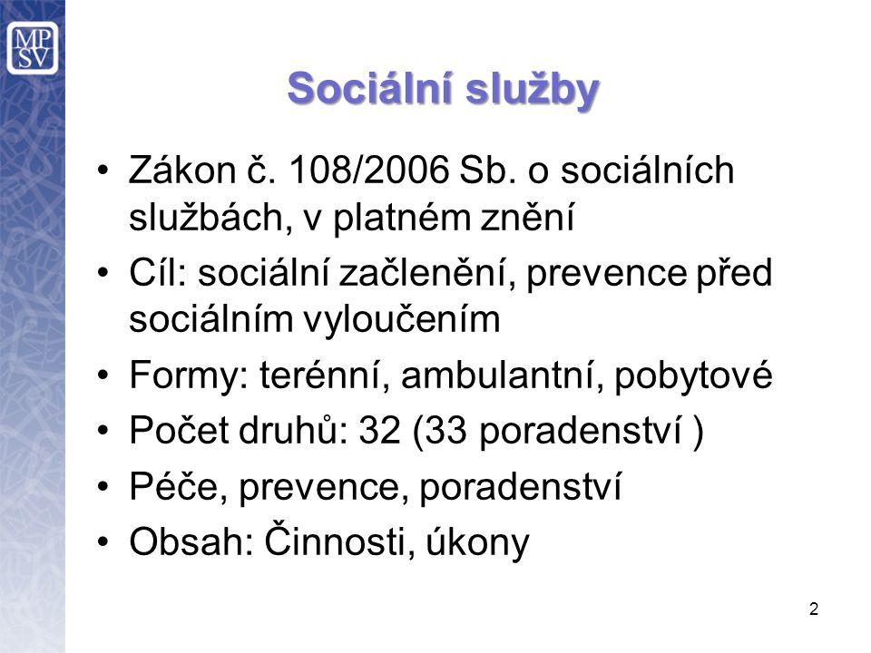 2 Sociální služby Zákon č. 108/2006 Sb.