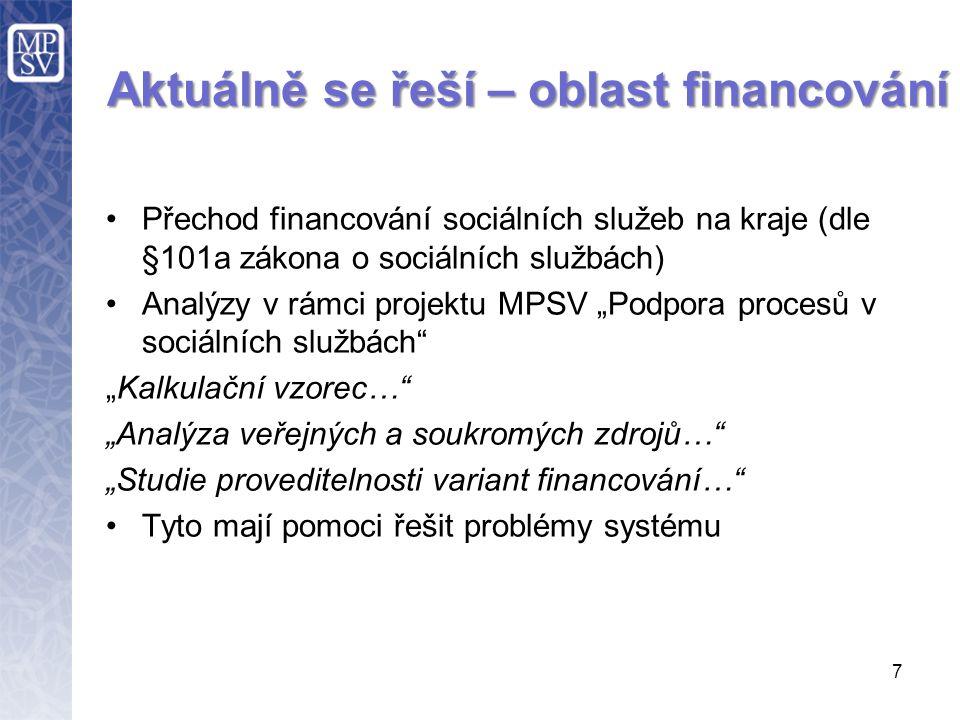 """7 Aktuálně se řeší – oblast financování Přechod financování sociálních služeb na kraje (dle §101a zákona o sociálních službách) Analýzy v rámci projektu MPSV """"Podpora procesů v sociálních službách """"Kalkulační vzorec… """"Analýza veřejných a soukromých zdrojů… """"Studie proveditelnosti variant financování… Tyto mají pomoci řešit problémy systému"""