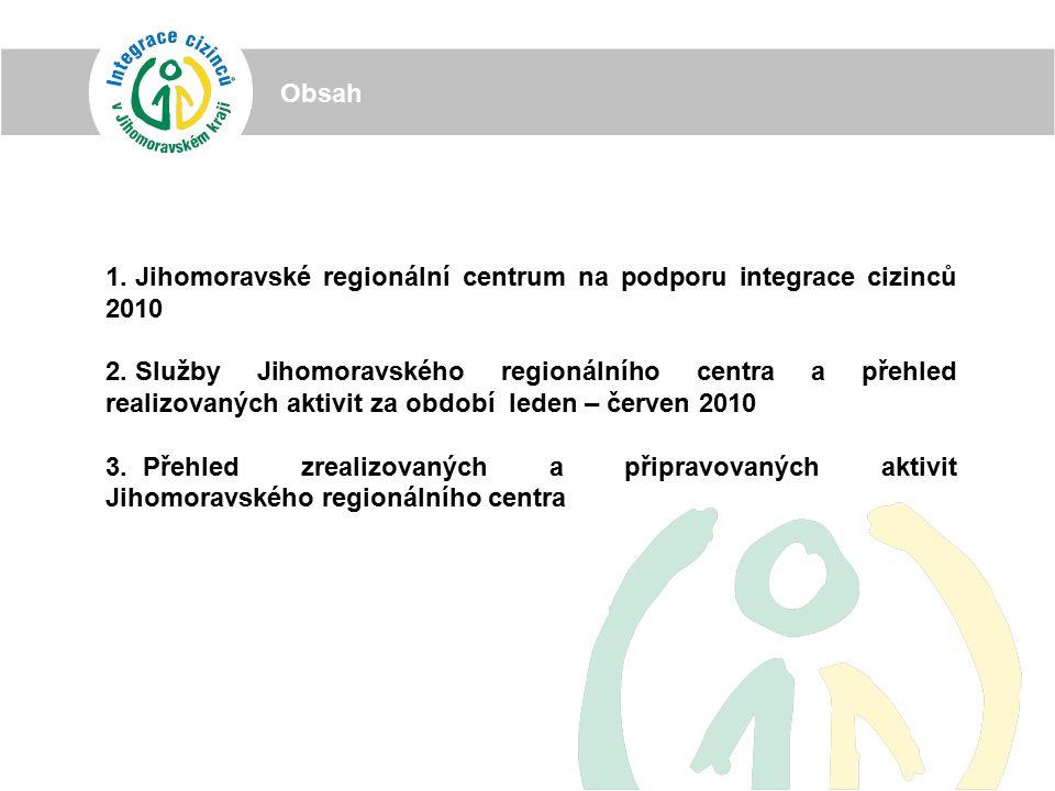 1. Jihomoravské regionální centrum na podporu integrace cizinců 2010 2.