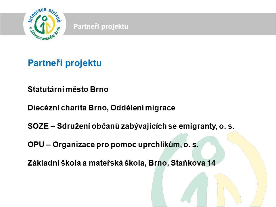 Partneři projektu Statutární město Brno Diecézní charita Brno, Oddělení migrace SOZE – Sdružení občanů zabývajících se emigranty, o.