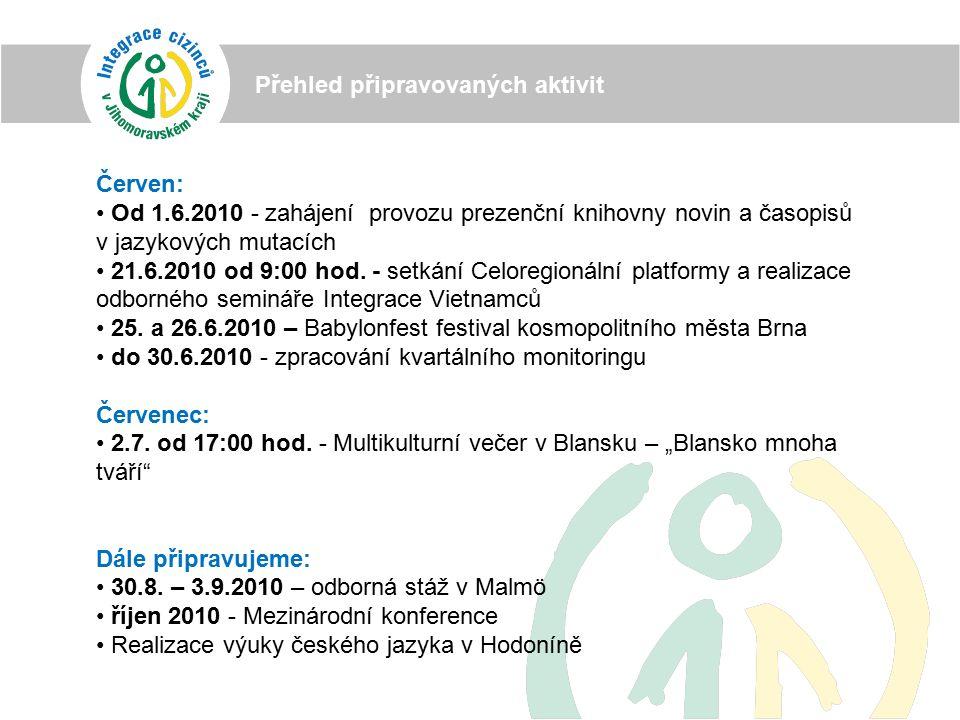 Přehled připravovaných aktivit Červen: Od 1.6.2010 - zahájení provozu prezenční knihovny novin a časopisů v jazykových mutacích 21.6.2010 od 9:00 hod.