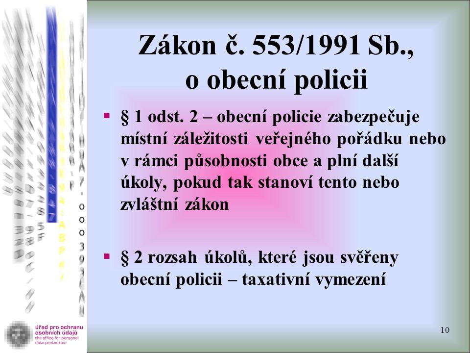 Zákon č. 553/1991 Sb., o obecní policii  § 1 odst. 2 – obecní policie zabezpečuje místní záležitosti veřejného pořádku nebo v rámci působnosti obce a