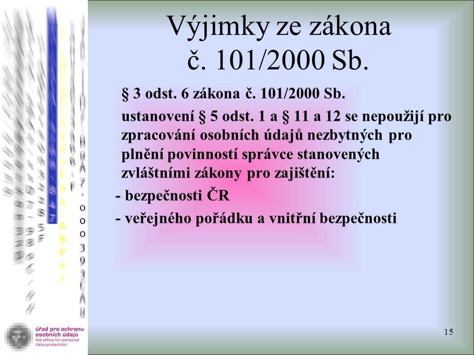 Výjimky ze zákona č. 101/2000 Sb. § 3 odst. 6 zákona č. 101/2000 Sb. ustanovení § 5 odst. 1 a § 11 a 12 se nepoužijí pro zpracování osobních údajů nez