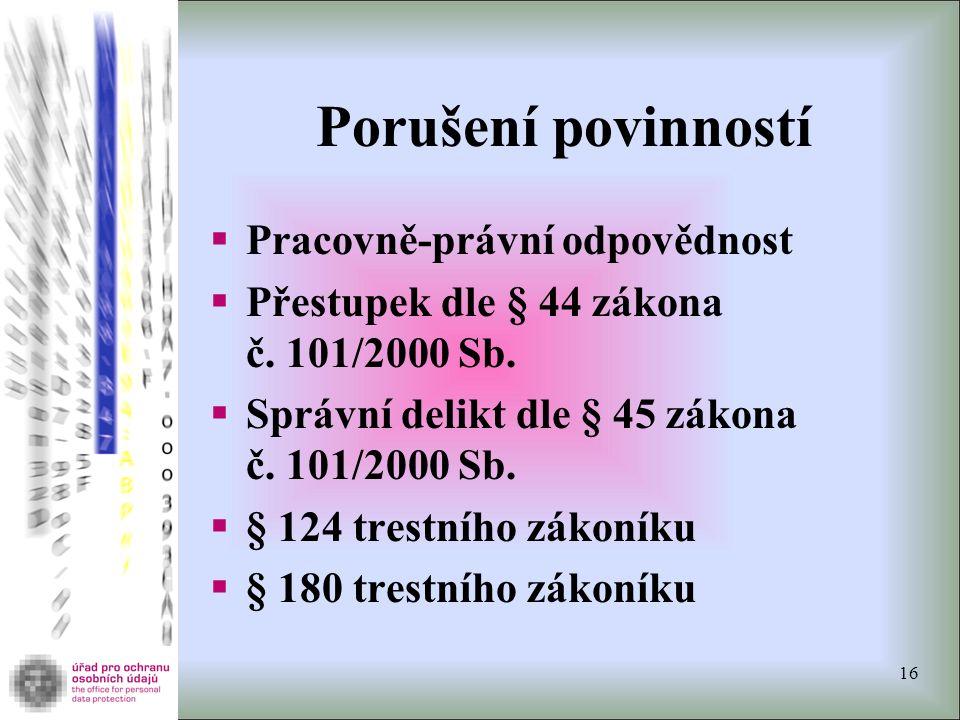 Porušení povinností  Pracovně-právní odpovědnost  Přestupek dle § 44 zákona č.