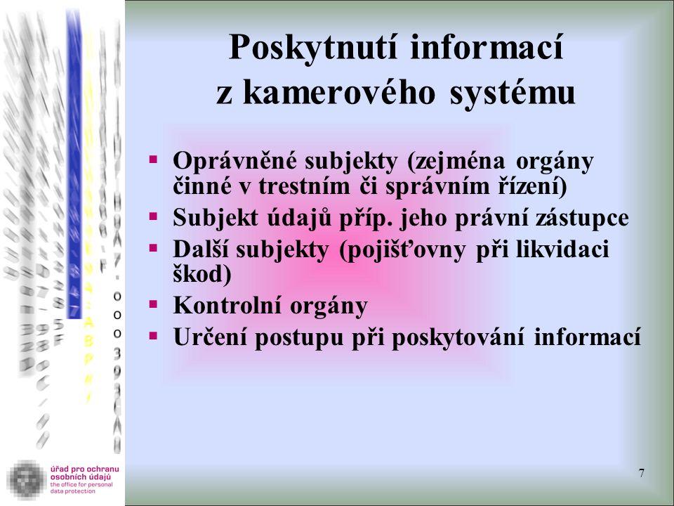 Poskytnutí informací z kamerového systému  Oprávněné subjekty (zejména orgány činné v trestním či správním řízení)  Subjekt údajů příp. jeho právní