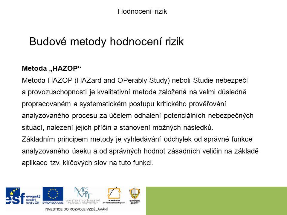 """Budové metody hodnocení rizik Metoda """"HAZOP Metoda HAZOP (HAZard and OPerably Study) neboli Studie nebezpečí a provozuschopnosti je kvalitativní metoda založená na velmi důsledně propracovaném a systematickém postupu kritického prověřování analyzovaného procesu za účelem odhalení potenciálních nebezpečných situací, nalezení jejich příčin a stanovení možných následků."""