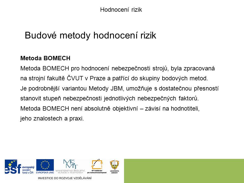 Budové metody hodnocení rizik Metoda BOMECH Metoda BOMECH pro hodnocení nebezpečnosti strojů, byla zpracovaná na strojní fakultě ČVUT v Praze a patřící do skupiny bodových metod.
