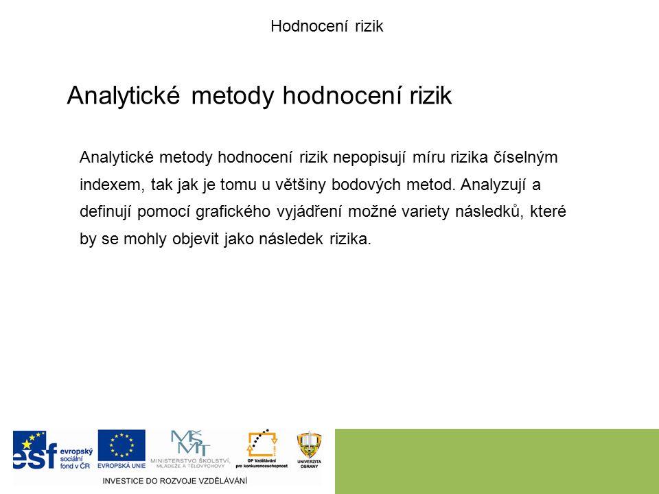 Analytické metody hodnocení rizik Analytické metody hodnocení rizik nepopisují míru rizika číselným indexem, tak jak je tomu u většiny bodových metod.