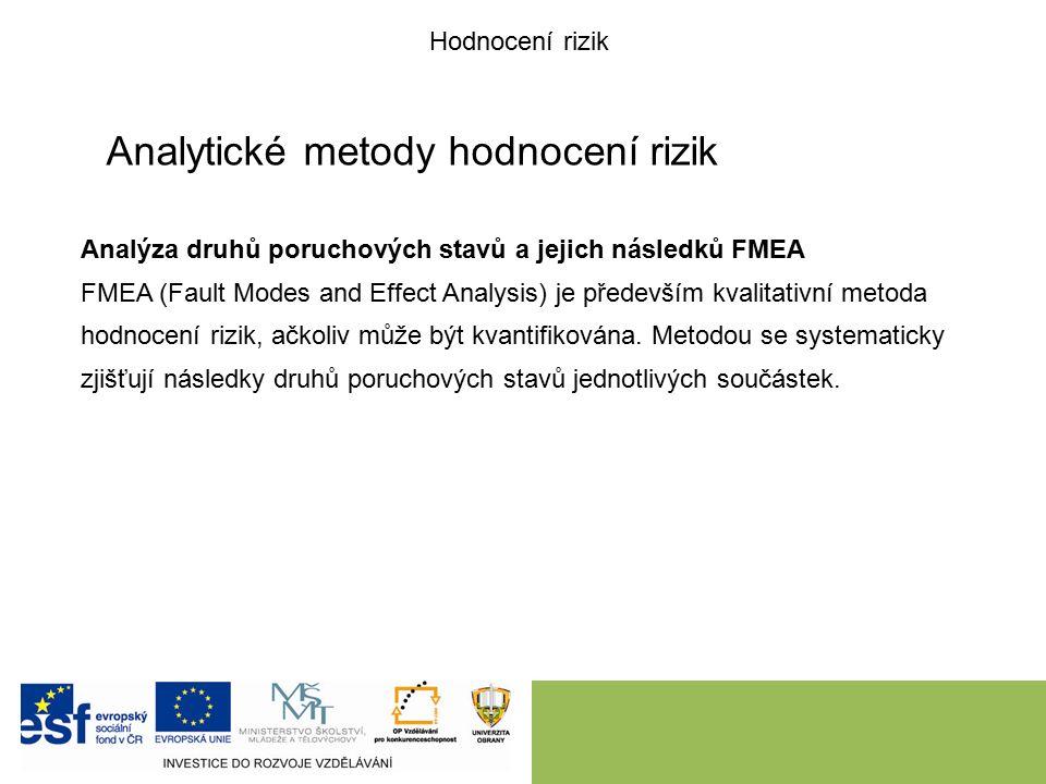 Analytické metody hodnocení rizik Analýza druhů poruchových stavů a jejich následků FMEA FMEA (Fault Modes and Effect Analysis) je především kvalitativní metoda hodnocení rizik, ačkoliv může být kvantifikována.