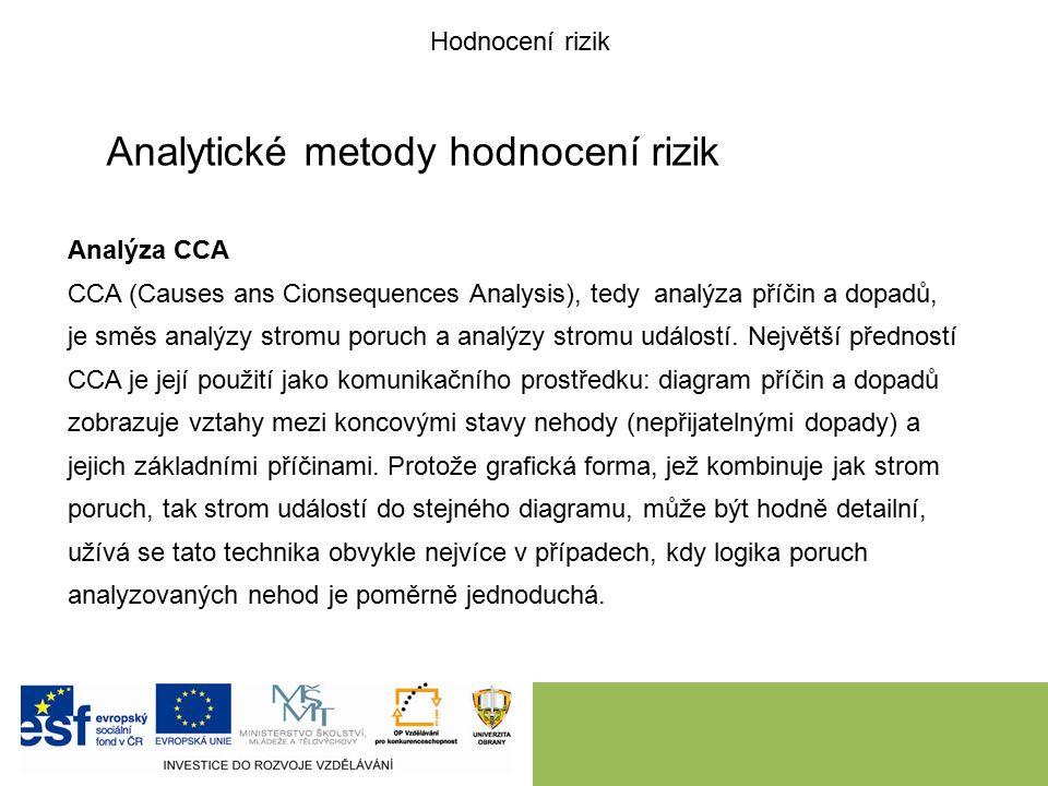 Analytické metody hodnocení rizik Analýza CCA CCA (Causes ans Cionsequences Analysis), tedy analýza příčin a dopadů, je směs analýzy stromu poruch a analýzy stromu událostí.