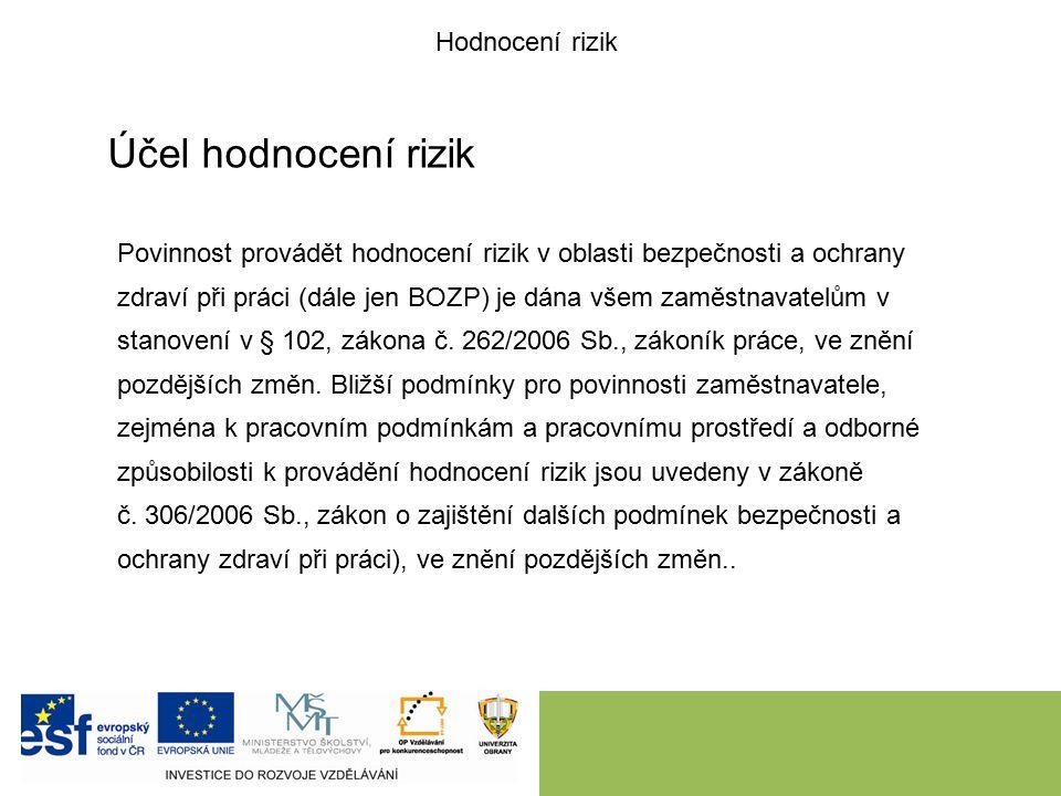Účel hodnocení rizik Povinnost provádět hodnocení rizik v oblasti bezpečnosti a ochrany zdraví při práci (dále jen BOZP) je dána všem zaměstnavatelům v stanovení v § 102, zákona č.