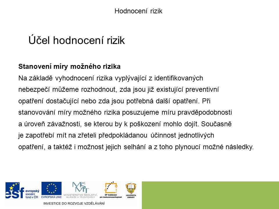 Účel hodnocení rizik Stanovení míry možného rizika Na základě vyhodnocení rizika vyplývající z identifikovaných nebezpečí můžeme rozhodnout, zda jsou