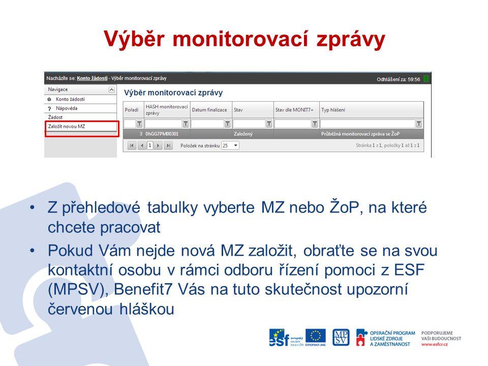 Výběr monitorovací zprávy Z přehledové tabulky vyberte MZ nebo ŽoP, na které chcete pracovat Pokud Vám nejde nová MZ založit, obraťte se na svou kontaktní osobu v rámci odboru řízení pomoci z ESF (MPSV), Benefit7 Vás na tuto skutečnost upozorní červenou hláškou