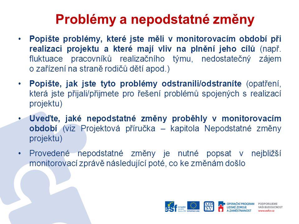 Problémy a nepodstatné změny Popište problémy, které jste měli v monitorovacím období při realizaci projektu a které mají vliv na plnění jeho cílů (např.