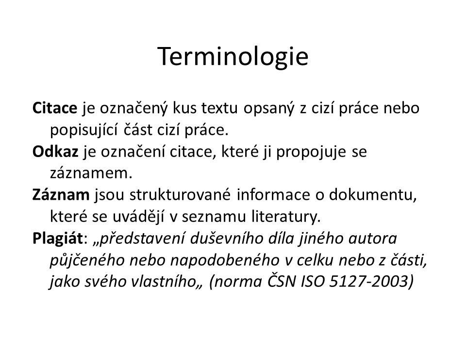 Terminologie Citace je označený kus textu opsaný z cizí práce nebo popisující část cizí práce. Odkaz je označení citace, které ji propojuje se zázname
