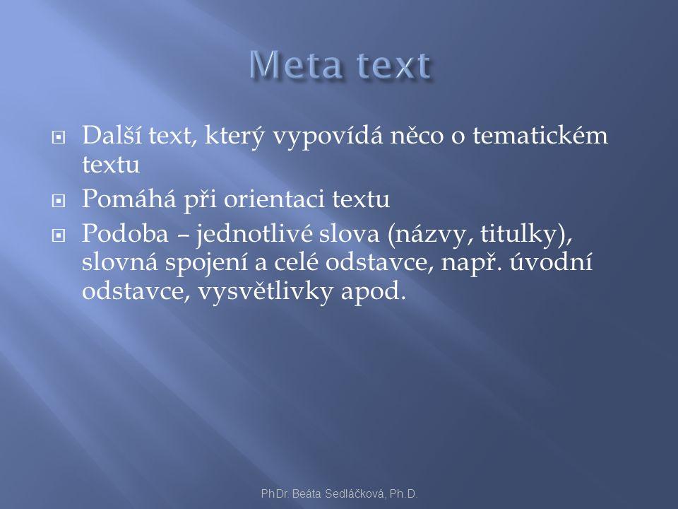  Další text, který vypovídá něco o tematickém textu  Pomáhá při orientaci textu  Podoba – jednotlivé slova (názvy, titulky), slovná spojení a celé odstavce, např.