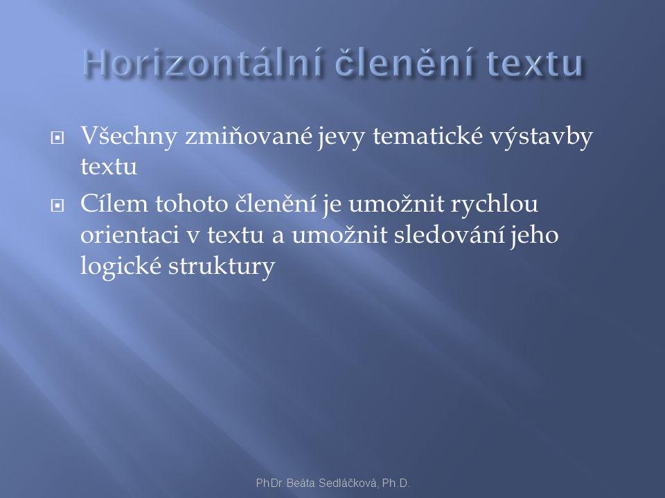  Všechny zmiňované jevy tematické výstavby textu  Cílem tohoto členění je umožnit rychlou orientaci v textu a umožnit sledování jeho logické struktu