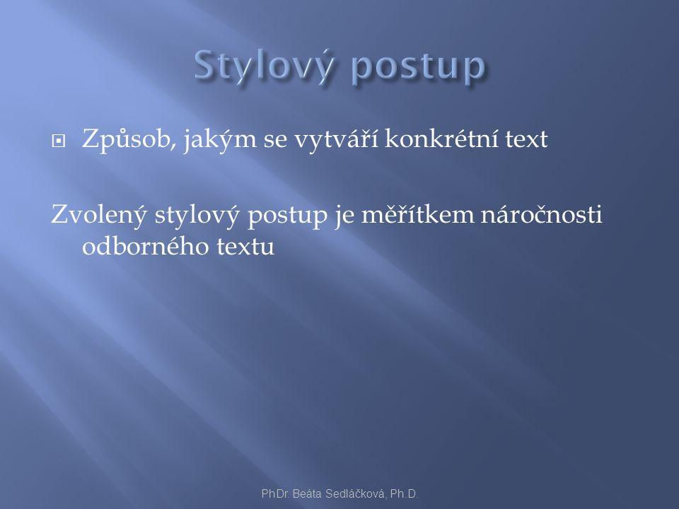  Způsob, jakým se vytváří konkrétní text Zvolený stylový postup je měřítkem náročnosti odborného textu PhDr. Beáta Sedláčková, Ph.D.