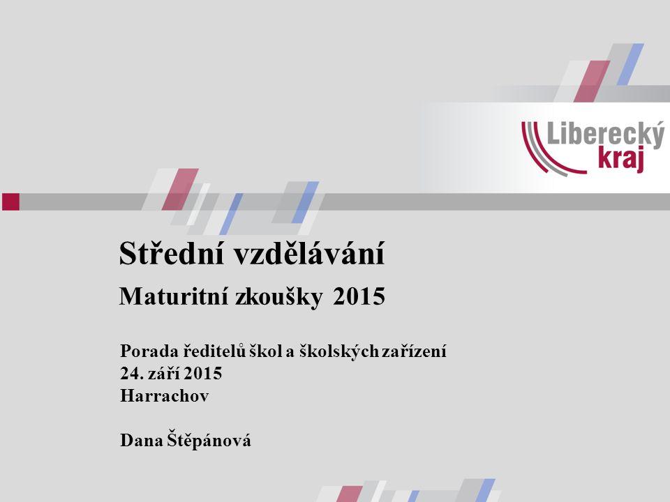 Střední vzdělávání Maturitní zkoušky 2015 Porada ředitelů škol a školských zařízení 24. září 2015 Harrachov Dana Štěpánová