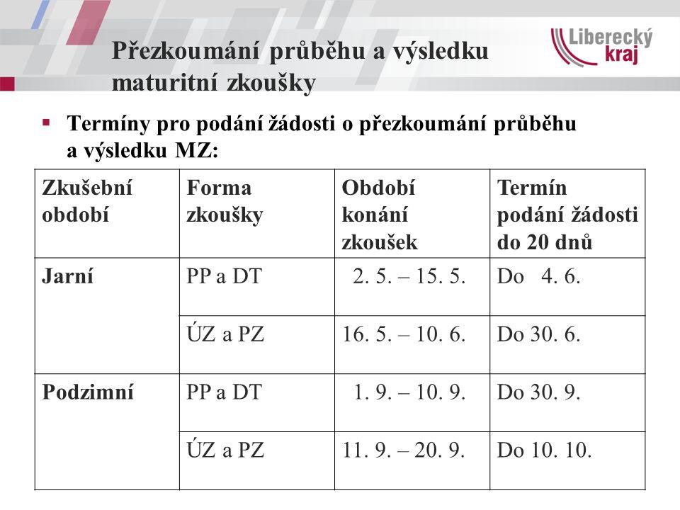 Přezkoumání průběhu a výsledku maturitní zkoušky  Termíny pro podání žádosti o přezkoumání průběhu a výsledku MZ: Zkušební období Forma zkoušky Obdob