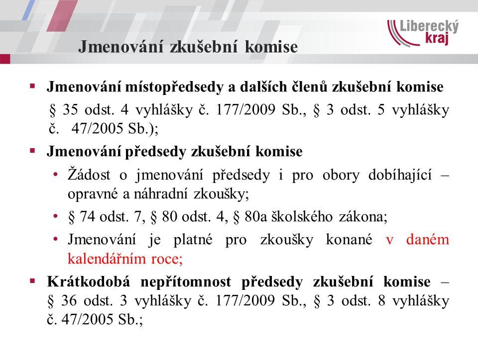 Jmenování zkušební komise  Jmenování místopředsedy a dalších členů zkušební komise § 35 odst. 4 vyhlášky č. 177/2009 Sb., § 3 odst. 5 vyhlášky č. 47/