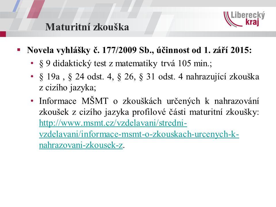 Maturitní zkouška  Novela vyhlášky č. 177/2009 Sb., účinnost od 1. září 2015: § 9 didaktický test z matematiky trvá 105 min.; § 19a, § 24 odst. 4, §
