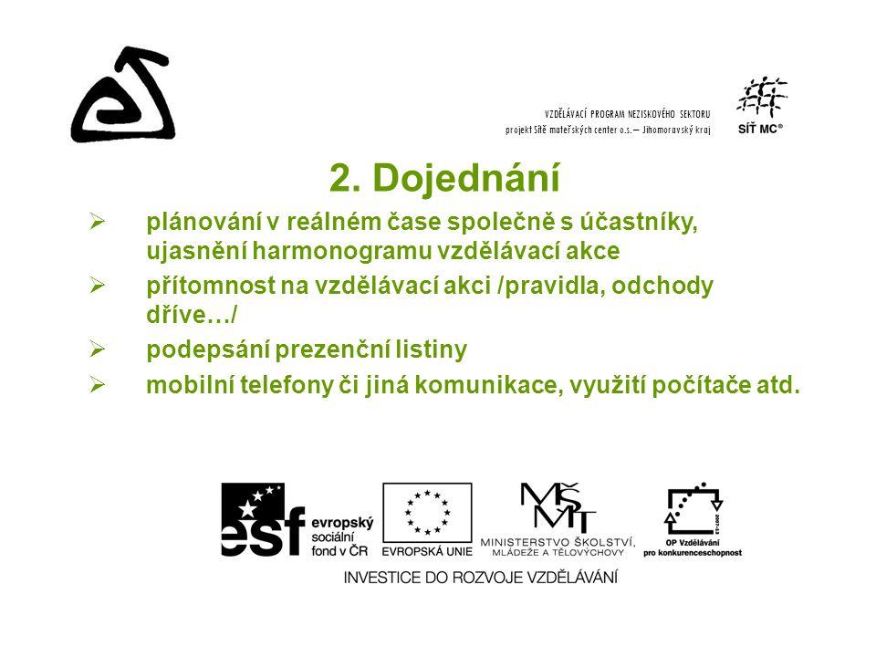 2. Dojednání  plánování v reálném čase společně s účastníky, ujasnění harmonogramu vzdělávací akce  přítomnost na vzdělávací akci /pravidla, odchody