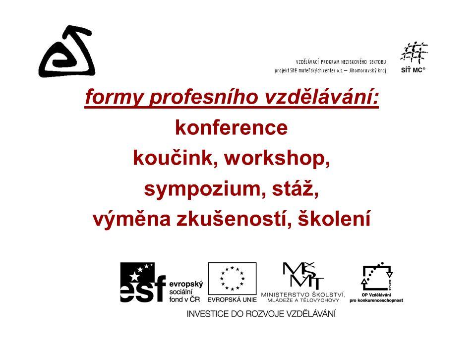 formy profesního vzdělávání: konference koučink, workshop, sympozium, stáž, výměna zkušeností, školení VZDĚLÁVACÍ PROGRAM NEZISKOVÉHO SEKTORU projekt