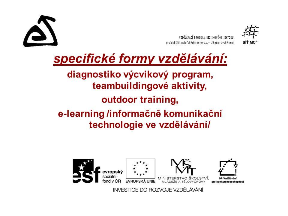 specifické formy vzdělávání: diagnostiko výcvikový program, teambuildingové aktivity, outdoor training, e-learning /informačně komunikační technologie ve vzdělávání/ VZDĚLÁVACÍ PROGRAM NEZISKOVÉHO SEKTORU projekt Sítě mateřských center o.s.