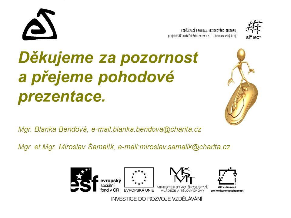 Děkujeme za pozornost a přejeme pohodové prezentace. Mgr. Blanka Bendová, e-mail:blanka.bendova@charita.cz Mgr. et Mgr. Miroslav Šamalík, e-mail:miros