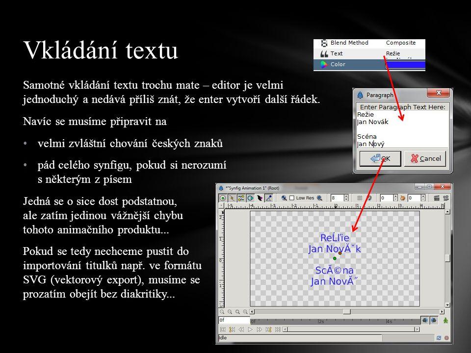 Samotné vkládání textu trochu mate – editor je velmi jednoduchý a nedává příliš znát, že enter vytvoří další řádek.