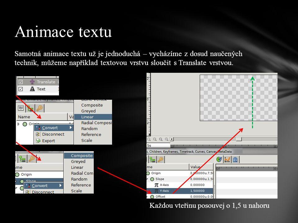 Samotná animace textu už je jednoduchá – vycházíme z dosud naučených technik, můžeme například textovou vrstvu sloučit s Translate vrstvou.