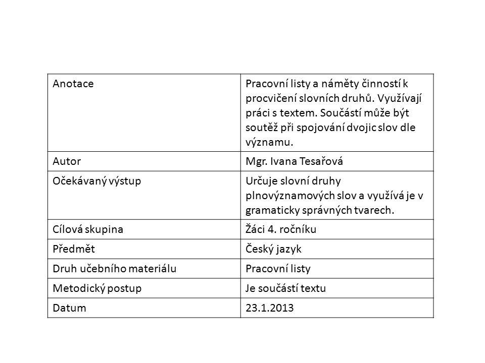 AnotacePracovní listy a náměty činností k procvičení slovních druhů.
