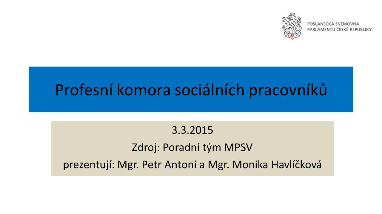 Profesní komora sociálních pracovníků 3.3.2015 Zdroj: Poradní tým MPSV prezentují: Mgr.