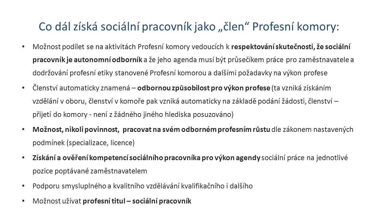 """Co dál získá sociální pracovník jako """"člen Profesní komory: Možnost podílet se na aktivitách Profesní komory vedoucích k respektování skutečnosti, že sociální pracovník je autonomní odborník a že jeho agenda musí být průsečíkem práce pro zaměstnavatele a dodržování profesní etiky stanovené Profesní komorou a dalšími požadavky na výkon profese Členství automaticky znamená – odbornou způsobilost pro výkon profese (ta vzniká získáním vzdělání v oboru, členství v komoře pak vzniká automaticky na základě podání žádosti, členství – přijetí do komory - není z žádného jiného hlediska posuzováno) Možnost, nikoli povinnost, pracovat na svém odborném profesním růstu dle zákonem nastavených podmínek (specializace, licence) Získání a ověření kompetencí sociálního pracovníka pro výkon agendy sociální práce na jednotlivé pozice poptávané zaměstnavatelem Podporu smysluplného a kvalitního vzdělávání kvalifikačního i dalšího Možnost užívat profesní titul – sociální pracovník"""