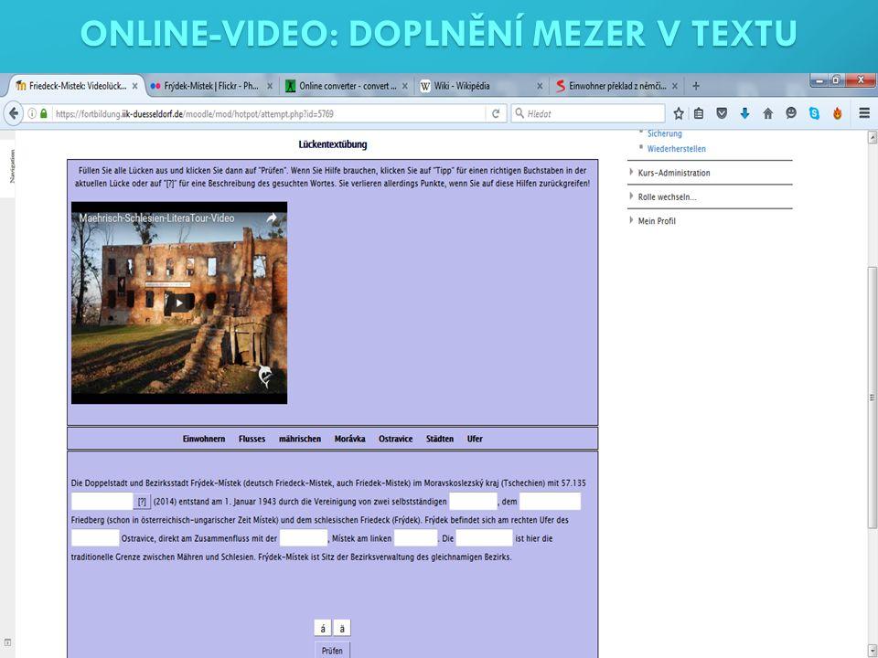ONLINE-VIDEO: DOPLNĚNÍ MEZER V TEXTU Uveďte zamýšlené výsledky tohoto školení.