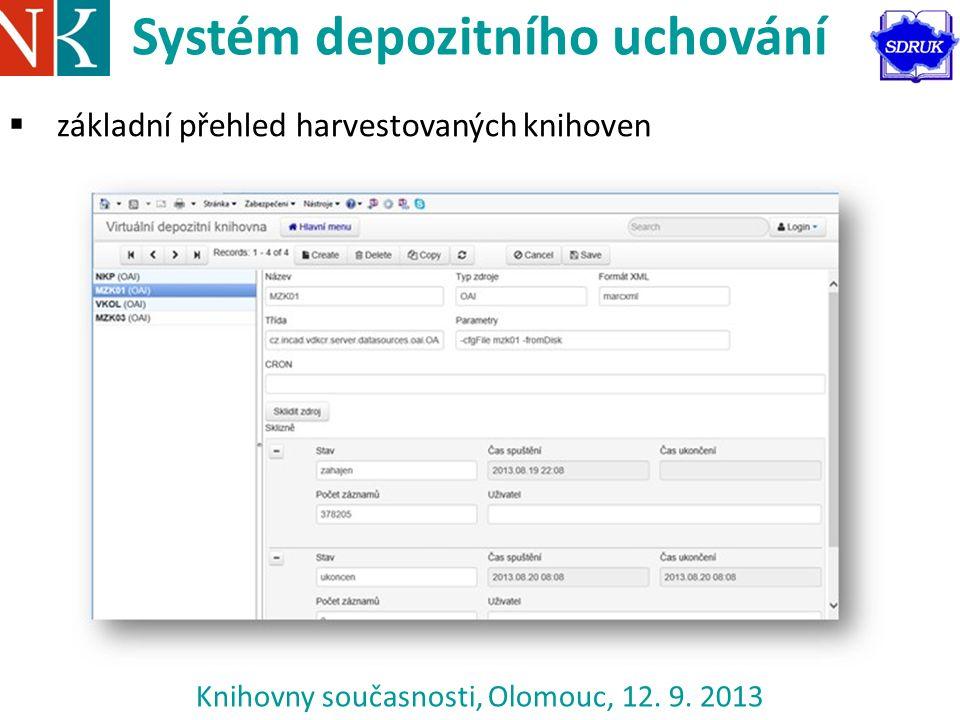 Knihovny současnosti, Olomouc, 12. 9. 2013 Systém depozitního uchování  základní přehled harvestovaných knihoven