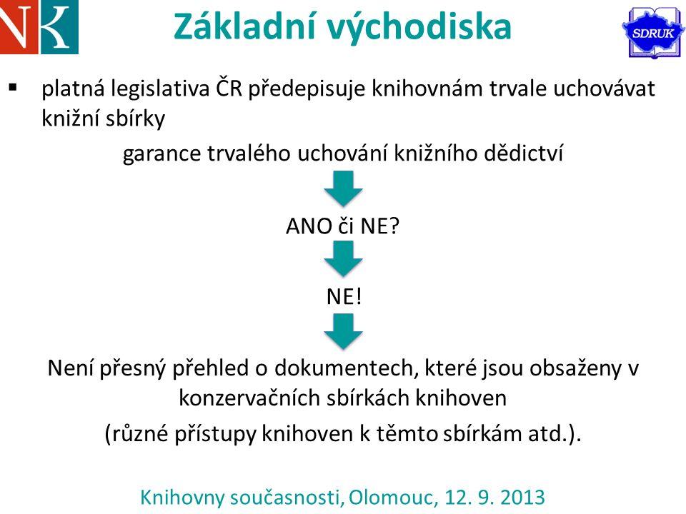  platná legislativa ČR předepisuje knihovnám trvale uchovávat knižní sbírky garance trvalého uchování knižního dědictví ANO či NE.