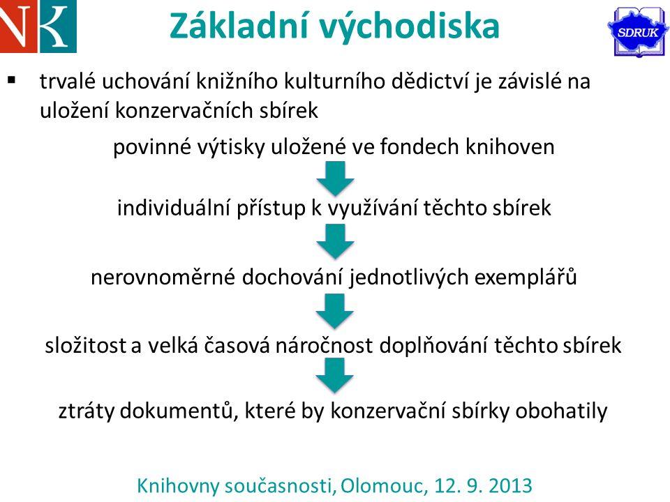 Knihovny současnosti, Olomouc, 12. 9. 2013 Základní východiska  trvalé uchování knižního kulturního dědictví je závislé na uložení konzervačních sbír