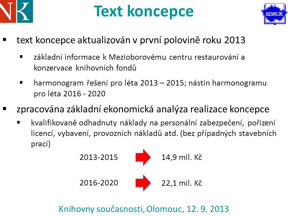 Knihovny současnosti, Olomouc, 12. 9. 2013 Text koncepce  text koncepce aktualizován v první polovině roku 2013  základní informace k Mezioborovému