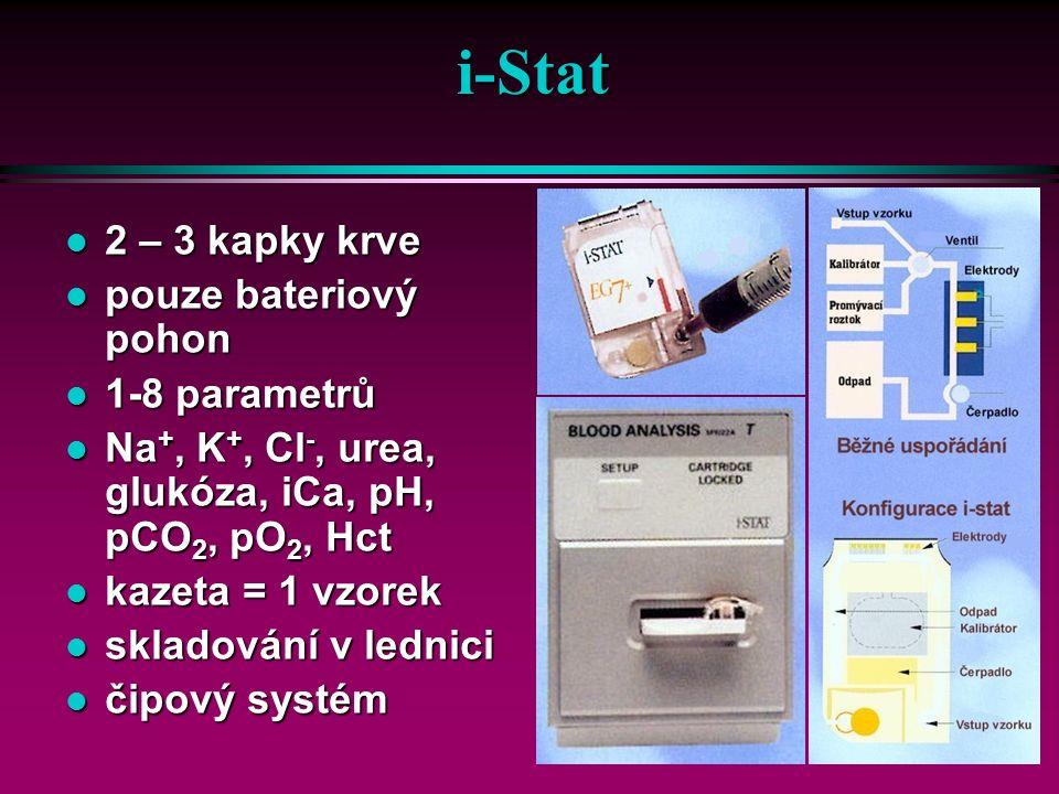 OPTIOMNI OMNI OMNI CCOMPACT ú bezúdržbové elektrody ü automatická kalibrace a čištění ú měřené parametry ü pH, pCO2, pO2, Baro ú modulární analyzátor ú paralelně řazené měřící komory ú mikroelektrody ú dotyková obrazovka ú automatická kalibrace ( roztoky) ú auAuto QC modul ú barcode ú žádné kalibrační plyny ú přenosný bateriový analyzátor ú bezúdržbový optický systém ü krevní plyny ü ionty ü tHb, SO2 ú objem vzorku 125 ul ú doba provozu s baterií 6- 8 h ú kalibrační plyn ú krevní plyny, ionty, hemoglobin ú bezúdržbové elektrody ú dotyková obrazovka ú automatická kalibrace ( roztoky) ú objem vzorku cca 60 ul ú Auto QC modul ú žádné kalibrační plyny