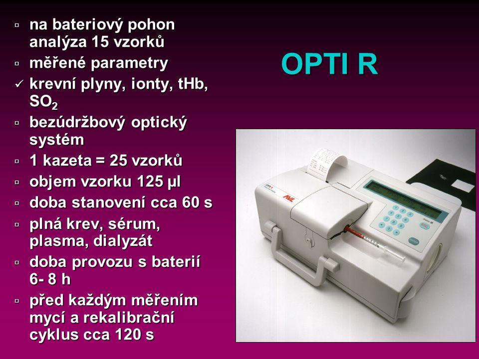 16 Gem Premier 3000 pH, pCO 2, pO 2, Na +, K +, iCa, Glc, Lac, THb, %O 2 Hb, %COHb, %MetHb, %HHb, Hct PT, APTT, ACT pouze síťový kazety: 75, 150, 300, 450 vzorků použitelnost kazet – 3 týdny 135 - 150 µl krve