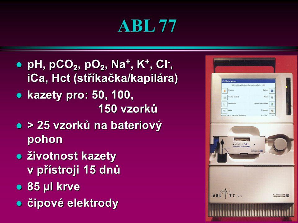 OPTI R ú na bateriový pohon analýza 15 vzorků ú měřené parametry ü krevní plyny, ionty, tHb, SO 2 ú bezúdržbový optický systém ú 1 kazeta = 25 vzorků ú objem vzorku 125 µl ú doba stanovení cca 60 s ú plná krev, sérum, plasma, dialyzát ú doba provozu s baterií 6- 8 h ú před každým měřením mycí a rekalibrační cyklus cca 120 s