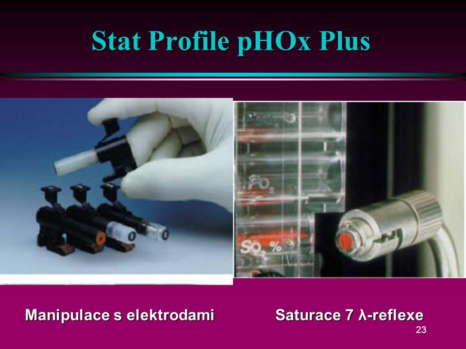 22 Stat Profile pHOx Plus l pH, pCO 2, pO 2, sO 2, Hct, Hb, Na +, K +, iCa/Cl -, glukóza, laktát l Plyny chemicky l Spotřeba 125 µl l Režim mikro 50 µl