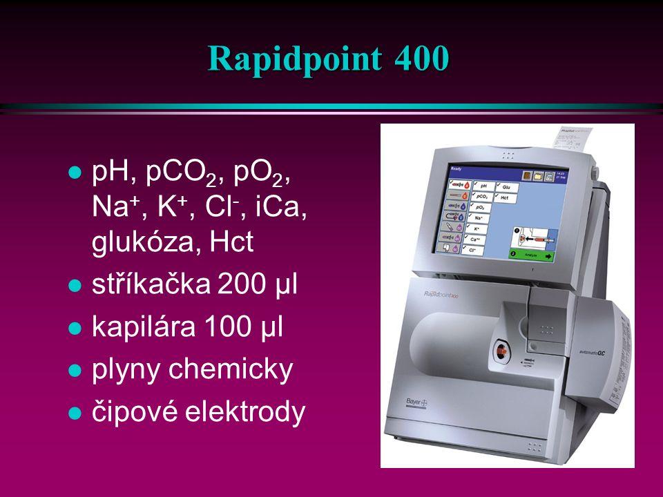 26 IL série 1600 (10-60) pH, pCO 2, pO 2, Na +, K +, iCa + Cl - / Glc + Lac + Hct objem vzorku 90 – 240 µl mikro režim 70 – 120 µl