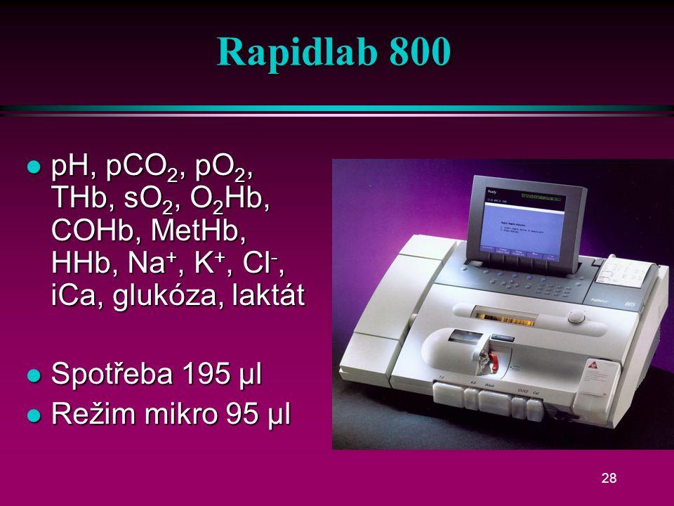 Rapidpoint 400 l pH, pCO 2, pO 2, Na +, K +, Cl -, iCa, glukóza, Hct l stříkačka 200 µl l kapilára 100 µl l plyny chemicky l čipové elektrody
